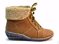 NEW WOMENS LADIES HIGH HEEL LACE WEDGE HIGH TOP ANKLE BOOTS  SIZE 3,4,5,6,7