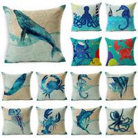 """18"""" Blue Sea Animal Cotton Linen Sofa Cushion Cover Throw Pillow Case Home Decor"""