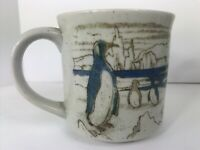 Otagiri Japan Antarctic Penguins Speckled Stoneware Coffee Mug 10oz Vintage