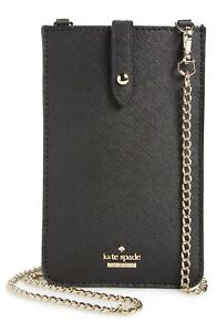 Kate Spade NY 256411 Womens Black Leather iPhone Smartphone Crossbody Bag