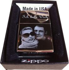 ORIGINAL ZIPPO CHROM POLIERT -BENZIN- mit GRAVUR FOTO/TEXT/MOTIV Diamantgravur