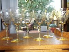 (6) WATER GOBLETS wine Mandarin Yellow Glass etch floral Tiffin Franciscan 15042