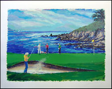 "Steve Bloom ""18th At Pebble Beach"" golf Hand Signed Numbered Art Make an Offer"