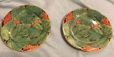"""Set of 2 Feuillage Creation D L Gien France Green Leaf Salad Plates 8 5/8"""" VGC"""