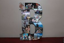 """13"""" Personalized Photo Wrapped Wooden Letter, Graduation Gift, Bar mitzvah gift"""