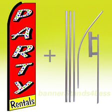 Swooper Feather Flutter 15' Tall Banner Sign Flag Kit- Party Rentals rq