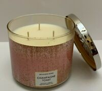1 Bath & Body Works Champagne Toast Glass Scented 3 WICK Candle 14.5oz New