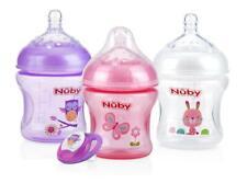 Nuby Natural Touch Infant Bottles - Slow Flow - Bonus Ortho Pacifier - Girl- 3pk