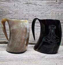More details for ox buffalo zebu drinking horn mug tankard viking mjolnir thor odin celtic mead