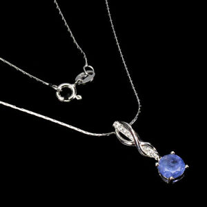 Unheated Round Tanzanite 6mm Cz White Gold Plate 925 Sterling Silver Necklace 18