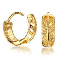 Vintage Jewelry Yellow Gold Filled Huggie Small Hoop Diamonds Earrings 187-75