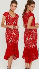 Gorgeous Red Midi Lace Fish Tail Dress Size 14