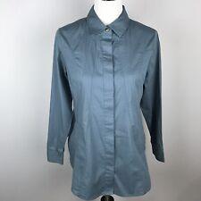 Soft Surroundings Womens Blue Button Down Tunic Top Size PS Petite Long Sleeve