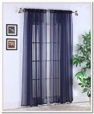 "Elegance (2) Panels Sheer Window Curtains Drapes Set 84"" Long Rod Pocket Solid"