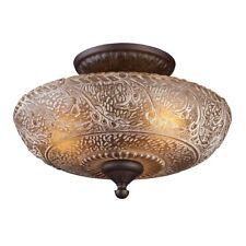 ELK Lighting Norwich 3-Light Semi Flush, Oiled Bronze/Amber Glass - 66191-3