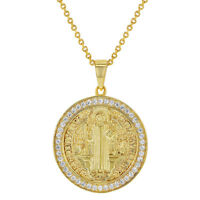 """18k Gold Plated Clear CZ San Benito Saint Benedict Religious Medal Pendant 19"""""""
