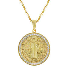 282a872bc15 18k Gold Plated Clear CZ San Benito Saint Benedict Religious Medal Pendant  19