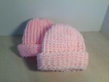 Handmade Knitted Pink and Pink/white Newborn /Baby Hats,Shower Gift,pair 2