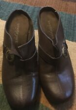 LANE BRYANT SIZE 8 BROWN SLIP ON CLOG SHOES