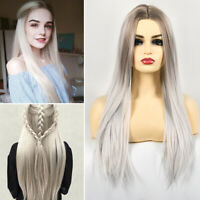 Ladies Long Straight Full Wig Ombre Natural Synthetic Hair Cosplay Party Costume