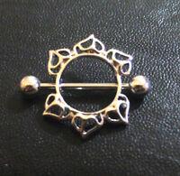 Hearts Sun Flower Floral Dangle Nipple shield Ring Bar body piercing jewellery
