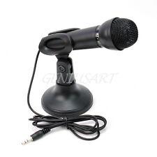 Microfono Stereo 3,5mm Mic Tavolo Supporto 360° Rotabile per PC Laptop Notebook