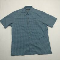 Bugatchi Uomo Mens Blue Check Short Sleeve Button Down Shirt Size Large