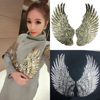 1Pair Angel Wings Sequin Iron Sew Embroidery Patch Applique Sewing Clothes Craft