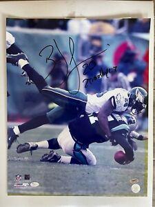 BRIAN DAWKINS SIGNED PHILADELPHIA EAGLES ACTION SACK 16X20 NFL PHOTO W/COA JSA