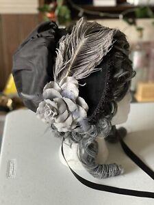 Victorian Bonnet - Ladies - Cosplay Steampunk Fancy Dress Black Gothic