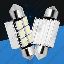 Pair White Canbus Error Free LED License Plate Lights 6418 C5W 36mm Festoon Tag