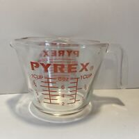 Vtg Clear Pyrex 1 Cup Measure Cup J Handle 508 Red Letters Metric FREE SHIPPING