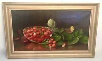 Authentic N. E. Morse Oil Painting Strawberries in Bowl Eleanor Ecob Morse 1891