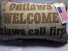 Tapestry Throw Pillow Afghan Outlaws Welcome Inlaws Call First Word Pillow