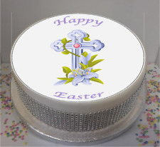 """Novelty Traditional Easter Cross & Flowers 7.5"""" Edible Icing Cake Topper"""