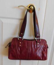"Piel Red Genuine Leather 12""W X 7""L Women's Shoulder Double Handle Handbag"