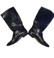 VINTAGE NINE WEST SOFT BLACK GENUINE LEATHER LOW HEEL TALL BOOTS Size 7 1/2 to 8