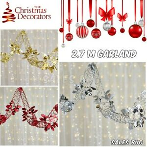 2 X 2.7m Foil Red Silver Gold Garland  Home Christmas Xmas Garland Decoration