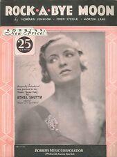 Rock A Bye Moon Sheet Music Piano Voice Guitar Ukulele 1932 Ethel Shutta Theme