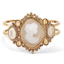 "Simulated Pearl Glass Goldtone Cameo Bangle Bracelet 7.5"""