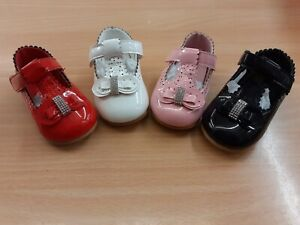 Toddler girls spanish diamanté bow Mary Jane Shoes