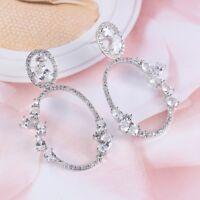 European Multi Natural White Fire Topaz Gemstone Silver Woman Stud Hook Earrings