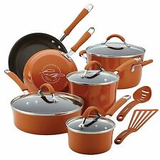 Rachael Ray Cucina Hard Porcelain Enamel Nonstick Cookware Set, 12-Piece, Orange