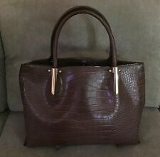 New ListingNeiman Marcus Brown Faux Crocodile Alligator Tote Bag Purse Handbag Nwot