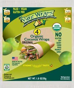Organic Pure Wraps (Keto, Vegan, Gluten-Free) Coconut Wraps Original 4 count