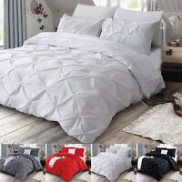 Double Brushed Cotton Duvet Cover Pintuck Bedding Set Single Double King Size