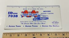 Vtg. AA and Trans-Tex Vans Advert Blotter Texas Trucking Freight 30's 40's