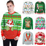 XMAS CHRISTMAS SWEATER Santa Elk Pullover Women Men Winter Warm Sweatshirts Tops