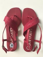Calvin Klein Red Patent Leather Flat T-Strap Sandals Size 9 Super Cute!!!