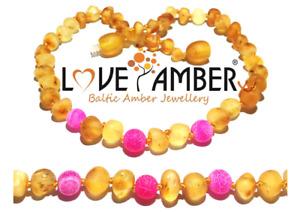Girl Child Nurture Pink Agate Raw Unpolished Honey Baltic Love Amber Necklace UK
